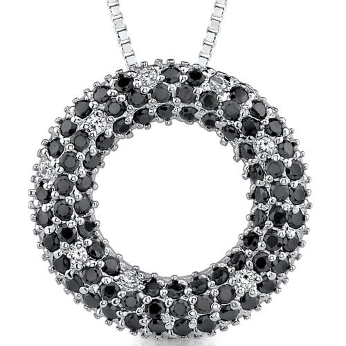 Midnight Magic: Sterling Silver Designer Inspired Slider Style Open Circle Pendant Necklace ...