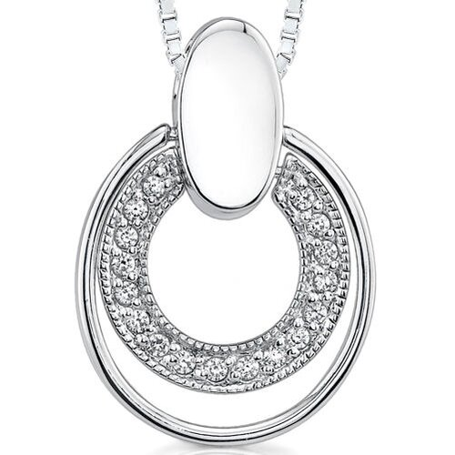 Oravo Chic Elegance: Sterling Silver Designer Inspired Double Oval Doorknocker Design Slider Style Pendant Necklace with CZ