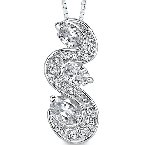 Sparkling Brook: Sterling Silver Art Nouveau Style Bridal Jewelry Pendant Necklace with Cubic ...