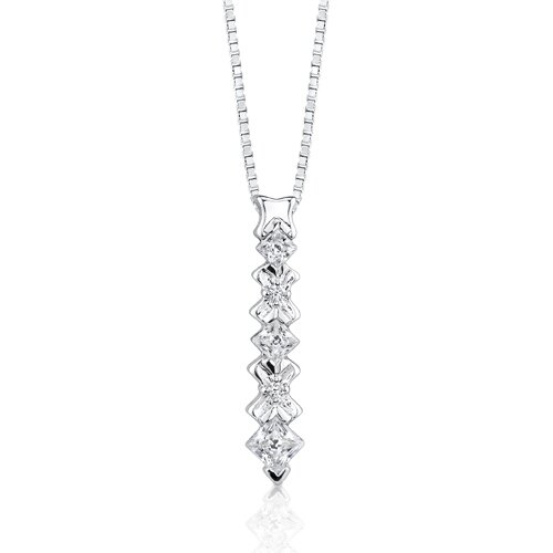 Oravo Sweet elegance: Sterling Silver Designer Inspired Floral Motif Dangle Pendant Necklace with Princess-cut Cubic Zirconia