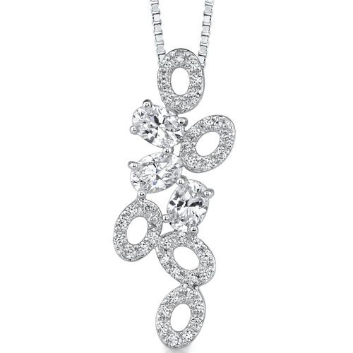 Oravo Tumbling Beauty: Sterling Silver Designer Inspired Bridal Style Pendant Necklace with Cubic Zirconia