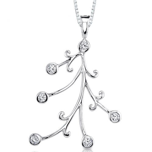 Dainty Opulence: Sterling Silver Bridal Style Hinged Bail Pendant Necklace with Bezel Set Cubic ...