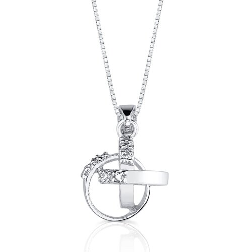Oravo Symbolic Style: Sterling Silver Interlocked Circles of Unity Dangle Style Pendant Necklace with Cubic Zirconia