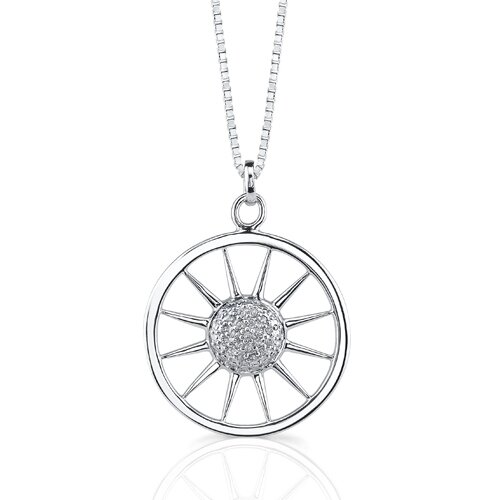 Oravo Wheel of Fashion: Sterling Silver Designer Style Sun-Circle Medallion Pendant Necklace with Cubic Zirconia