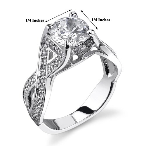 Oravo Infinite Love Sterling Silver Solitaire Style Size 7 Engagement Ring with Cubic Zirconia