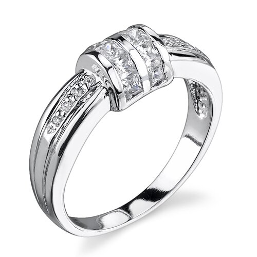 Oravo Simple Promise Sterling Silver Size 6 Promise Ring with Cubic Zirconia