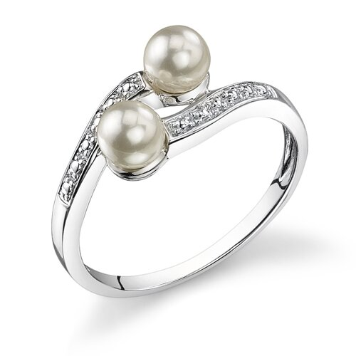 Duo of Delight Sterling Silver White Cultured Pearl By Pass Style Promise Ring