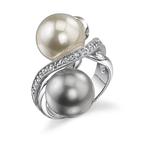 Lustrous Perfection Sterling Silver Gray White Cultured Pearl with Cubic Zirconia Celebrity ...