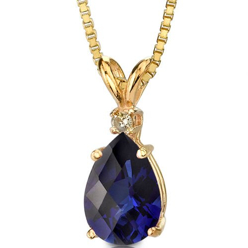 14 Karat Yellow Gold 5.50 Carats Pear Checkerboard Cut Sapphire Diamond Pendant