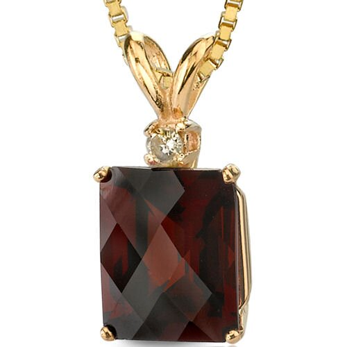 14 Karat Yellow Gold 7.25 Carats Radiant Checkerboard Cut Garnet Diamond Pendant