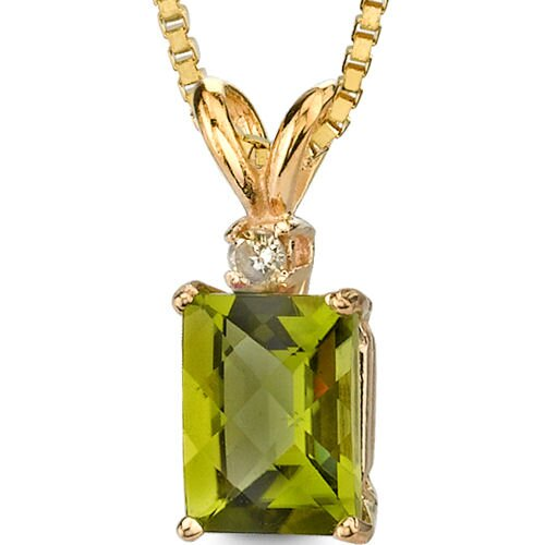 14 Karat Yellow Gold 1.75 Carats Radiant Checkerboard Cut Peridot Diamond Pendant