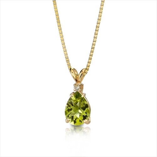 Oravo 14 Karat Yellow Gold 1.00 Carats Pear Checkerboard Cut Peridot Diamond Pendant