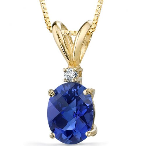 14 Karat Yellow Gold 1.75 Carats Oval Checkerboard Cut Sapphire Diamond Pendant with Chain
