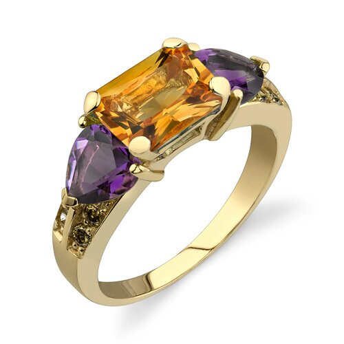 Oravo Intricate Delicacy 3.41 Radiant Citrine and Heart Amethyst Diamond Ring 14 Karat Yellow Gold