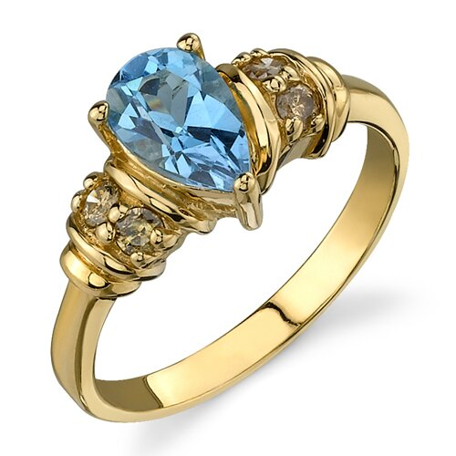 Vivacious and Radiant 1.12 Pear Shape Swiss Topaz Diamond Ring 14 Karat Yellow Gold