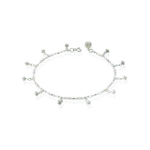 Oravo Flower Design Charm Anklet Sterling Silver