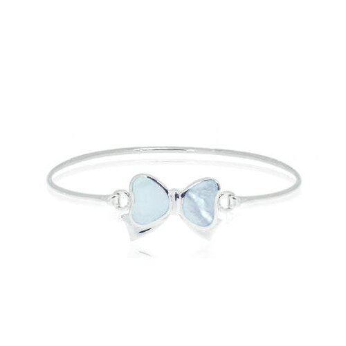 Oravo Blue Mother of Pearl Ribbon Bangle Bracelet Sterling Silver
