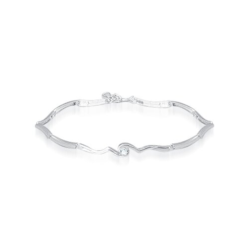 Round Cut White Cz Extendible Bracelet Sterling Silver