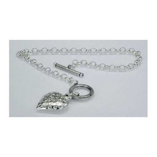Heart Charm Toggle Bar Bracelet Sterling Silver