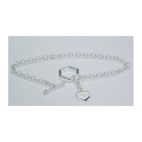Heart Tag Toggle Bar Bracelet Sterling Silver