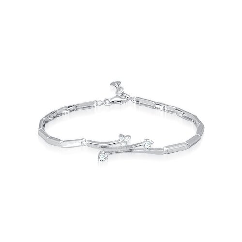 Round Cut White Cz Cocktail Bracelet Sterling Silver