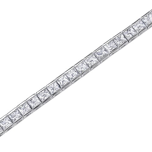 Full of Sparkle Princess Cut Gemstone Tennis Bracelet in Sterling Silver