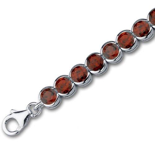 Oravo Must Have Chic 19.75 Carats Round Cut Garnet Gemstone Tennis Bracelet in Sterling Silver