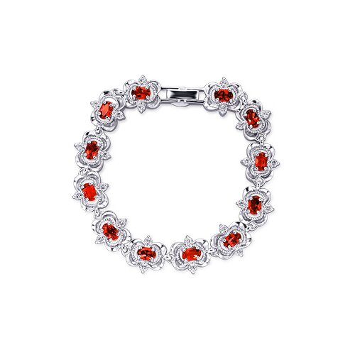 Delicately Handcrafted Oval and Round Cut Gemstone Bracelet in Sterling Silver