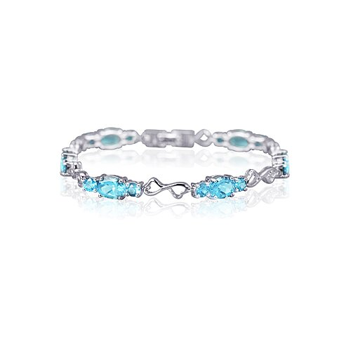 Designed just for you Oval and Round Cut Gemstone Bracelet in Sterling Silver