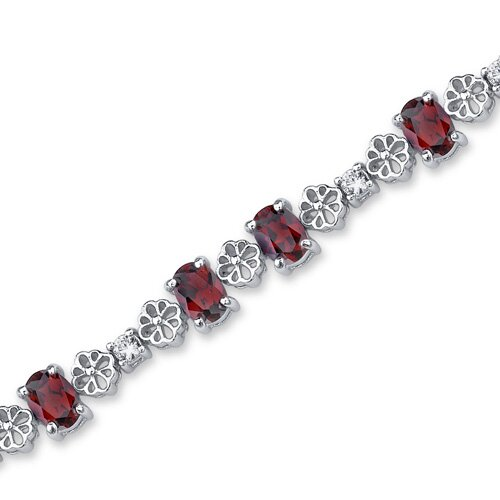 Oravo Intricate Design Oval and Round Cut Gemstone Bracelet in Sterling Silver