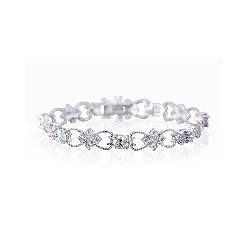 Delicate Filigree Design Oval and Round Cut Gemstone Bracelet in Sterling Silver