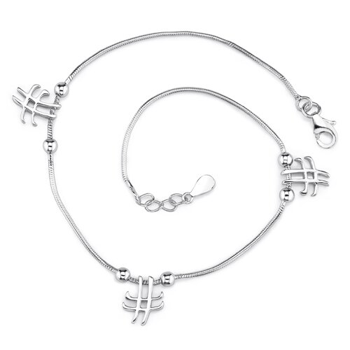 Enchanting Glamour Sterling Silver Designer Inspired Snake Chain Bracelet with Knot and Cross ...