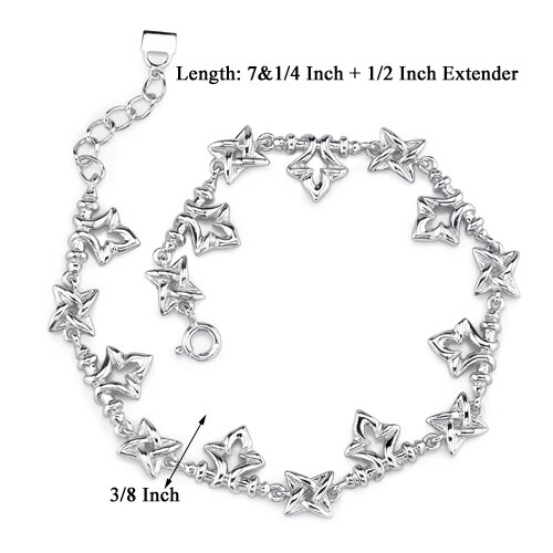 Oravo Celestial Delight Sterling Silver Designer Inspired Fancy Link Bracelet with Tulip and Star Charms