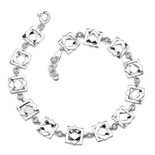 Squared Away Glamour Sterling Silver Designer Inspired Interlocked Squares Link Chain Bracelet