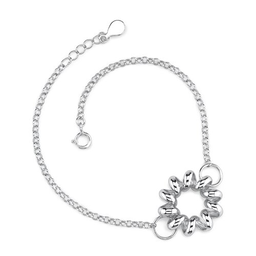 Elegant and Charming Sterling Silver Designer Inspired Curb Link Chain Bracelet with a Floral ...