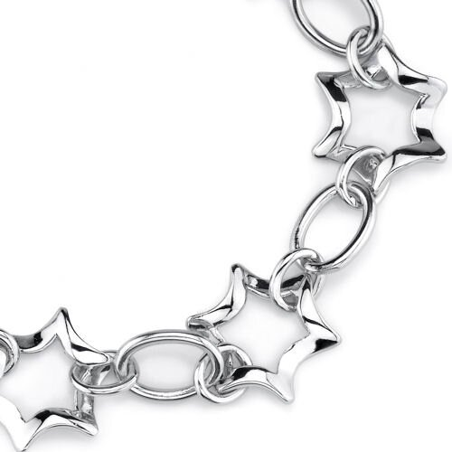 Oravo Sparkling Glamour Sterling Silver Designer Inspired Fancy Star and Oval Link Chain Bracelet