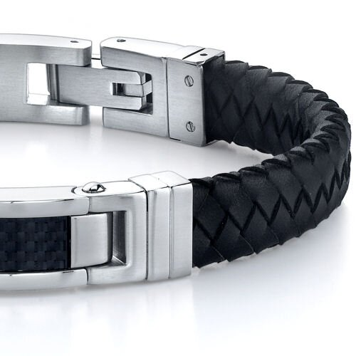 Oravo Fashionable Excellence Stainless Steel Carbon Fiber ID-style Braided Leather Strap Bracelet for Men