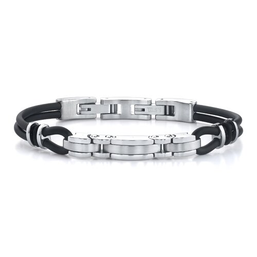 Exclusive Elegance Stainless Steel Triple-bar Link and Dual Rubber Cord Bracelet for Men
