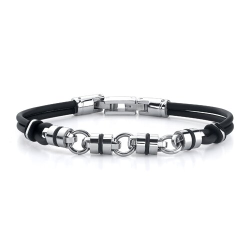 Handsome style Stainless Steel Barrel Link Dual Rubber Cord Bracelet for Men