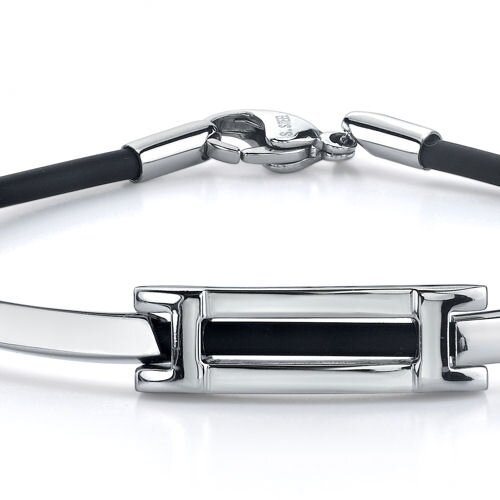 Oravo Stylish Sophistication Stainless Steel Bar link ID-style Rubber Cord Bracelet for Men