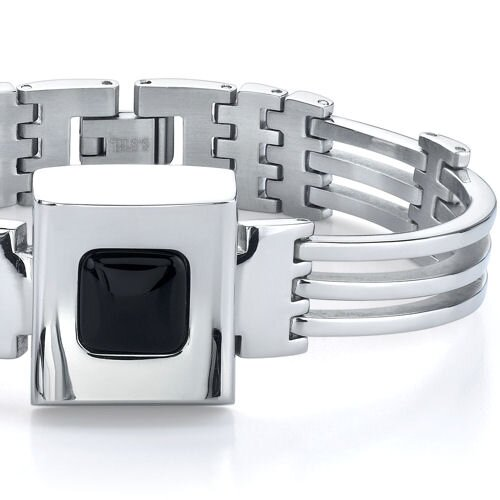 Oravo Ultramodern Elegance Stainless Steel Industrial-style Link Bracelet with Black Ceramic centerpiece for Men
