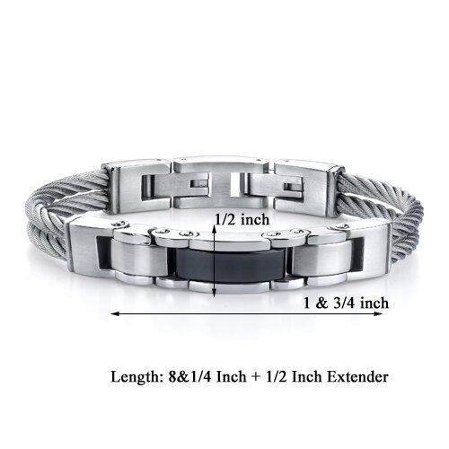 Oravo Superlative Fashion Stainless Steel Cable-style Strap with Panther-link Centerpiece Bracelet for Men