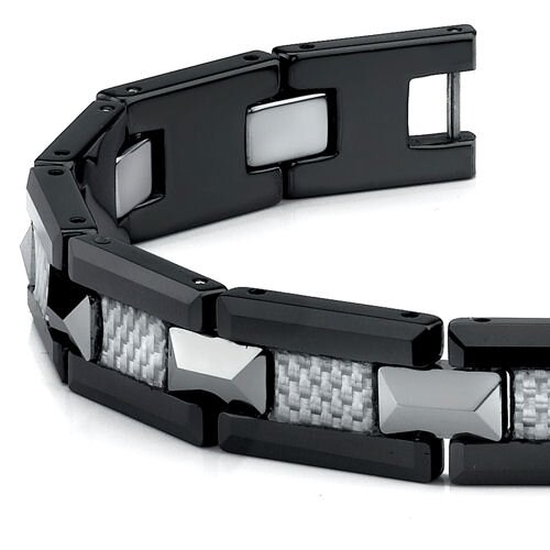 Oravo Black Ceramic Tungsten and Grey Carbon Fiber Combination link Bracelet for Men