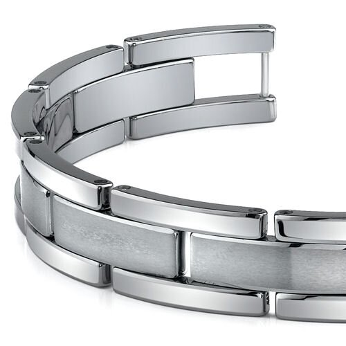 Oravo Tungsten Matte and High Polish Link Bracelet for Men