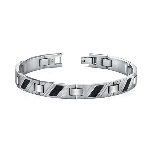 Stainless Steel Mens Carbon Fiber Striped Bracelet