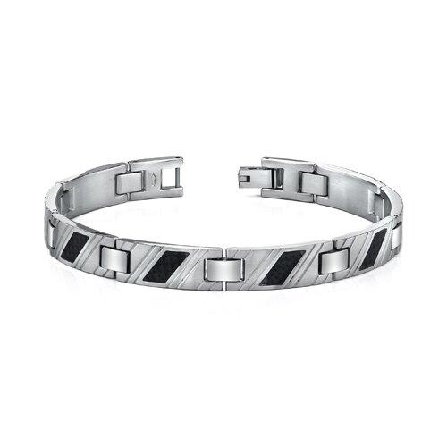 Stainless Steel Mens Carbon Fiber Striped Bracelet