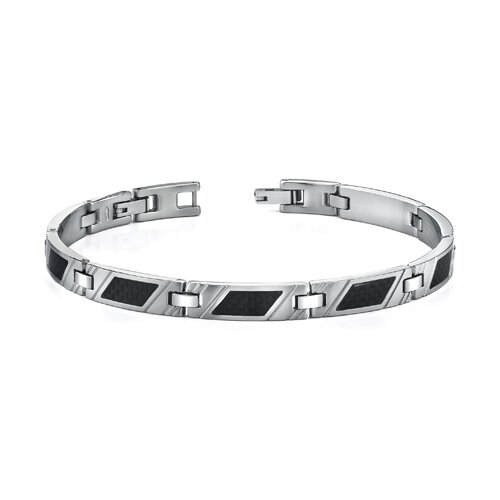 Classic Mens Stainless Steel Striped Bracelet