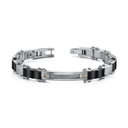 Stainless Steel Mens Bracelet with Cable Design and 18 Karat Gold Rivets