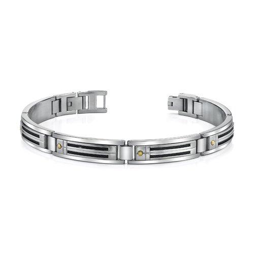 Sleek Mens Stainless Steel Bracelet with 18 Karat Gold Rivets