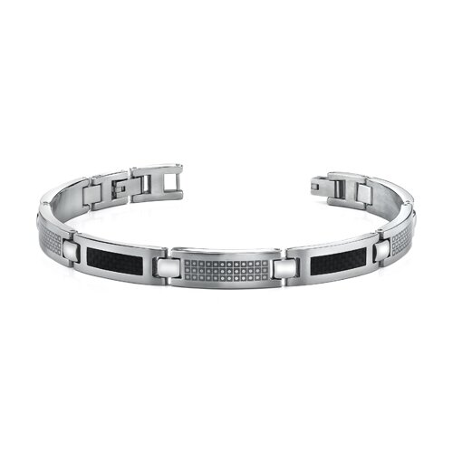 Black Carbon Fiber with Laser Pattern Mens Stainless Steel Bracelet